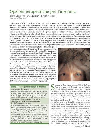 Opzioni terapeutiche per l'insonnia - Fondazione Internazionale ...
