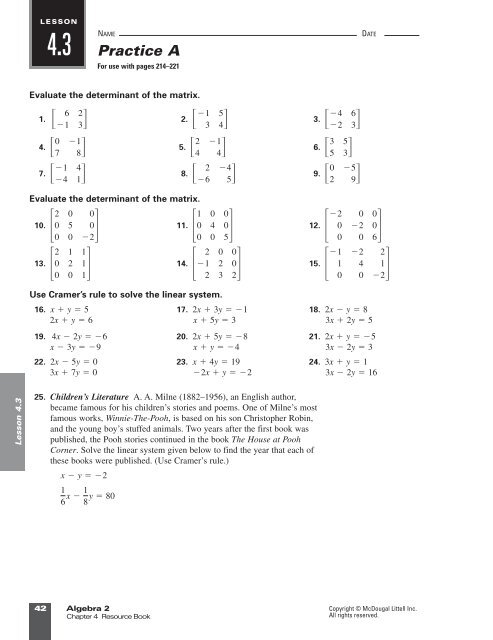 Answer Key Practice A 1