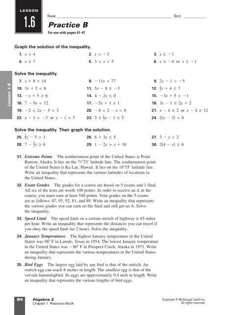 Answer Key Practice B 1