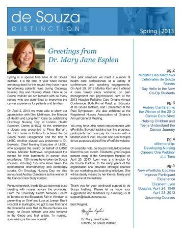 Greetings from Dr. Mary Jane Esplen