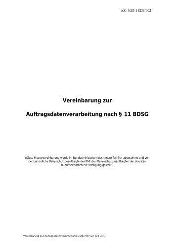 vereinbarung zur auftragsdatenverarbeitung nach 11 bdsg - Auftragsdatenverarbeitung Muster