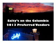 Salty's on the Columbia 2013 Preferred Vendors
