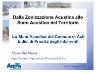 Dalla Zonizzazione Acustica allo Stato Acustico del ... - Arpa Piemonte