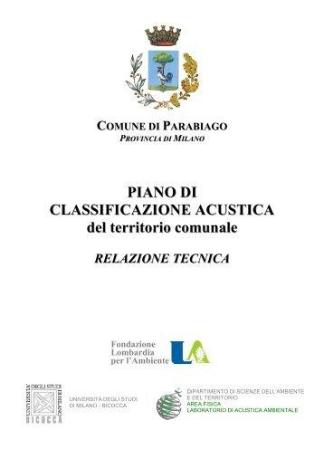 ZONIZZAZIONE ACUSTICA - Ecomuseo e Agenda 21 Parabiago