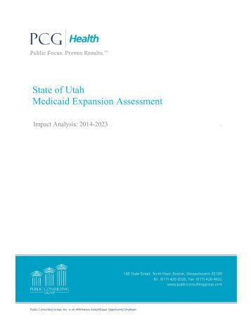 State of Utah Medicaid Expansion Assessment