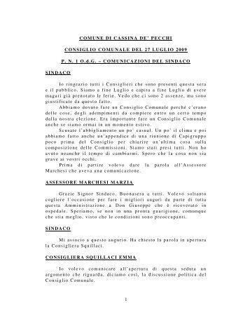 Verbale del Consiglio Comunale - Progetto Cassina-Sant'Agata
