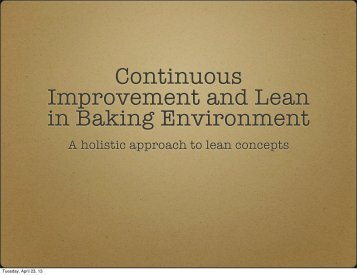 Continuous Improvement and Lean in Baking Environment