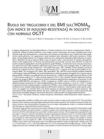 RUOLO DEI TRIGLICERIDI E DEL BMI SULL'HOMAIR (UN INDICE ...