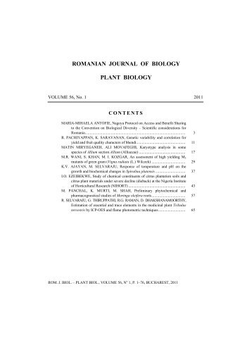 ROMANIAN JOURNAL OF BIOLOGY PLANT BIOLOGY