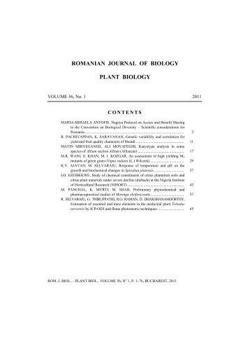 ROMANIAN JOURNAL OF BIOLOGY PLANT BIOLOGY