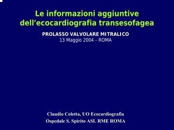 Le informazioni aggiuntive dell'ecocardiografia transesofagea - SIEC