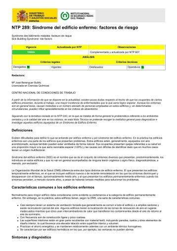 NTP 289: Síndrome del edificio enfermo: factores de riesgo