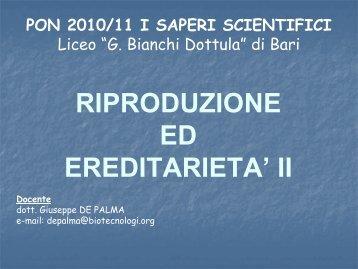 Riproduzione ed ereditarietà II - Imbianchidottula.Bari.It