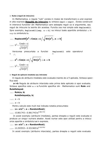 "In Mathematica, o regula ""rule"" consta in modul de transformare a ..."