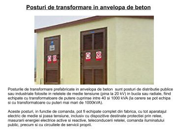Posturi de transformare in anvelopa de beton - ElectricGenerals.ro