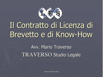 Il Contratto di Licenza di Brevetto e di Know-How - Senaf