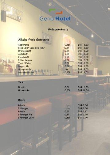 Getränkekarte Alkoholfreie Getränke Sekt Biere - Geno Hotel