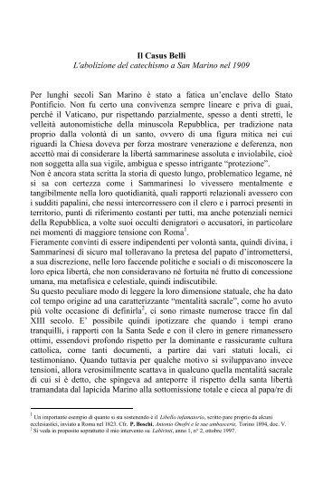 Il Casus Belli L abolizione del catechismo a San Marino nel 1909 ...