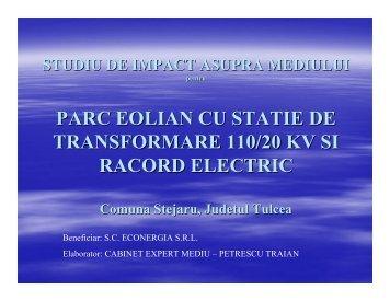 parc eolian cu statie de transformare 110/20 kv si racord electric
