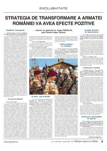 strategia de transformare a armatei româniei va avea efecte pozitive