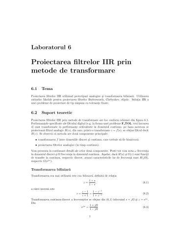Proiectarea filtrelor IIR prin metode de transformare