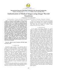 Authentication of Medical Images using Integer Wavelet ... - IJETAE