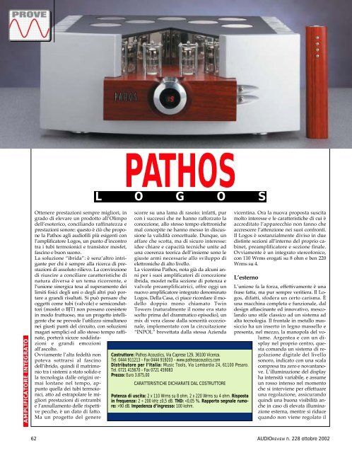 AudioReview n. 228 Pathos - Music Tools