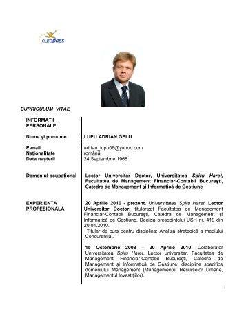 CURRICULUM VITAE INFORMAŢII PERSONALE Nume şi prenume ...
