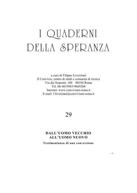 Calendario Giuliano Conversione.Testimonianza Di Una Conversione Convivium Roma It
