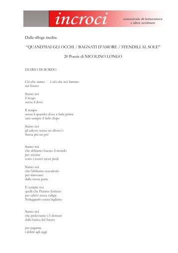Venti poesie inedite di Nicolino Longo - Adda Editore