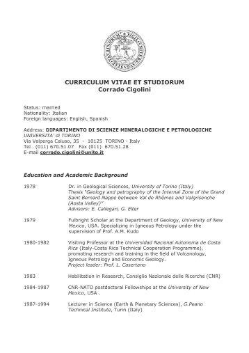 Dr Prof Antonio Panaccione Curriculum Vitae Et Studiorum