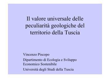 Valore Peculiarità Geologiche Tuscia - Provincia di Viterbo
