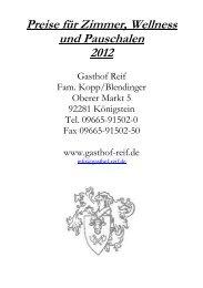 Preise für Zimmer, Wellness und Pauschalen ... - Hotel Gasthof Reif
