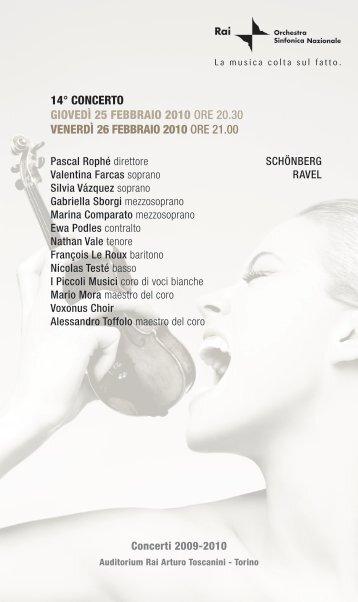 Programma - Orchestra Sinfonica Nazionale della RAI - Rai.it