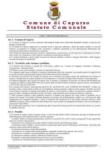 Art. 1 - Comune di Capurso Art. 2 – Territorio, sede, stemma e ...