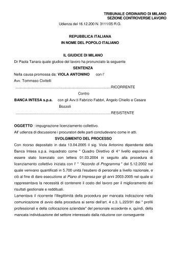 16/12/2005 sentenza del Tribunale di Milano contro Banca Intesa ...