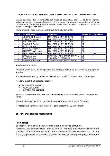 Verbale - Comune di Rignano sull'Arno