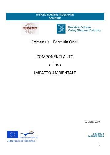 """Comenius """"Formula One"""" COMPONENTI AUTO e loro ... - Ipsia Birago"""
