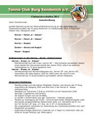 Clubmeisterschaften 2011 - TC Burg Kendenich
