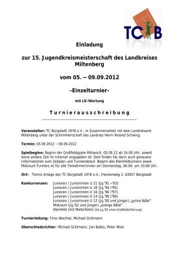 Einladung zur 15. Jugendkreismeisterschaft des ... - TC Bürgstadt