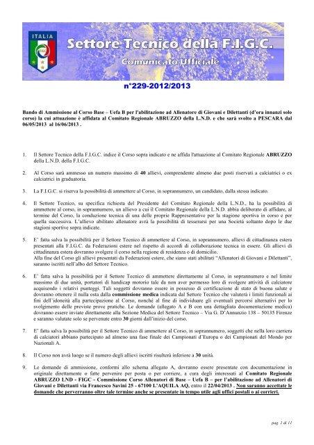 N° 1 Modulo Iscrizione Corso Allenatori UEFA-B - FIGC
