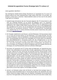 Infoblatt für jugendliche Tennis- Einsteiger beim TC Lohmar e.V.