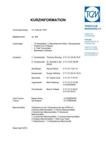 KURZINFORMATION - Tennis-Club Markwasen eV in Reutlingen