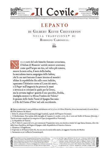 Il Covile N° 710 - LEPANTO di Gilbert Keith Chesterton nella ...