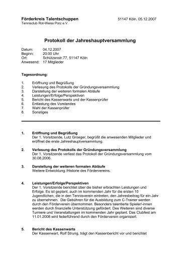 Protokoll der Jahreshauptversammlung - TC Rot-Weiss Porz