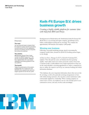 Kwik-Fit Europe B.V. drives business growth