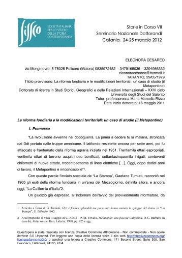 un caso di studio - Società Italiana per lo Studio della Storia ...