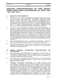 Allgemeine Einkaufsbedingungen CEVA Logistics Austria Gmbh