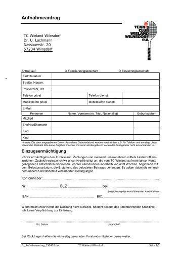 Aufnahmeantrag - TC Wieland Wilnsdorf