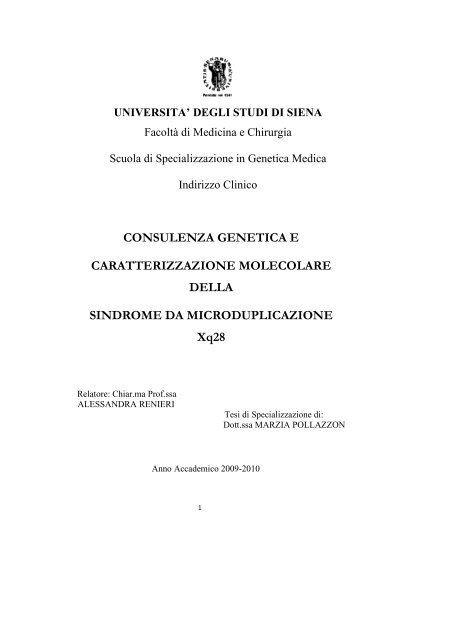 Consulenza genetica e caratterizzazione molecolare della ... - Unisi.it